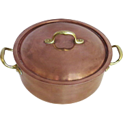 Vintage Copper Tin Lined Covered Casserole Stock Pan Pot Made in Italy Italian