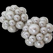 "Vintage 60's ""Imitation"" Pearl Cluster Clip Earrings ""Japan"""