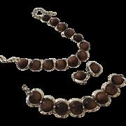 Vintage Faux Tiger-Eye Silver Tone Three Piece Parure Necklace Bracelet Earrings