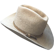 Vintage American Hat Company Felt Cowboy Western Hat Size 7 Tan Braided Leather Hat Band