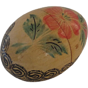 Vintage Hand Painted Wooden Easter Egg Opens