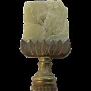 Vintage Chinese Hardstone Jade Lamp Shade Finial Lotus