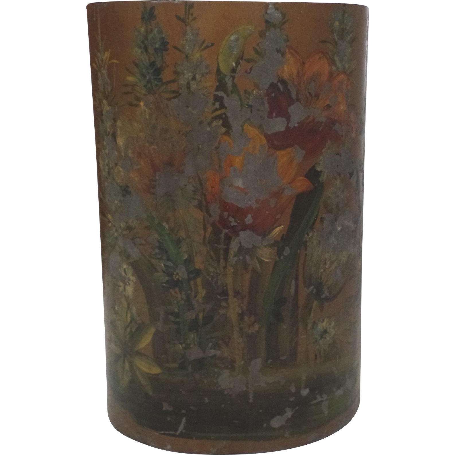 Vintage Painted Trash Waste Basket Can Chipping Paint