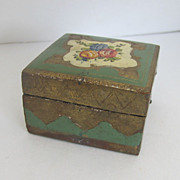 Florentine Italian Gilt Green Small Trinket Box