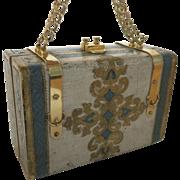 Vintage Italian Florentine Wood Gilt Painted Purse Handbag Chain 1960's