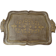 Vintage Italian Florentine Wooden Gilt Tray with Side Handles
