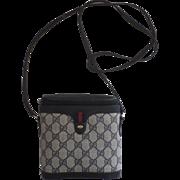 """Vintage Blue Logo Gucci Shoulder """"Binocular"""" Purse Bag 1980's"""