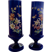 Pair of 19th Century Blue Glass Hand Enamel Painted Footed Vases Birds Flowers