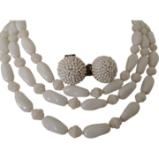 Vintage Hattie Carnegie White Shaped Beaded Necklace and Matching Beaded Earrings