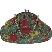 Vintage Italian Italy Floral Large Vinyl Purse Bag