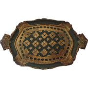 Vintage Florentine Italian Italy Gilt Tray with Handles Green