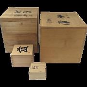 Group Vintage Japanese Storage Vase Boxes Calligraphy Chop Mark Kiri Wood