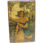 18th Century Papier Mache Painted of Lady in Period Dress