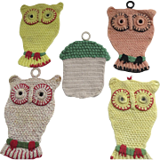 Vintage 1950's Pot Holders Owls and Acorn Group of 5