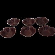 6 x Otagiri Original Japan Japanese Lacquered Lotus Shaped Bowls