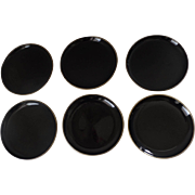 Vintage Japanese Japan Black Lacquered Plates Gold Edge Chic