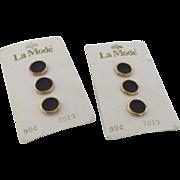 Six Vintage La Mode Black Gold Buttons New on Card Hexagon Shape
