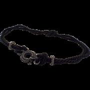 Lanvin Paris Made in France Black Cord and Rhinestone Belt