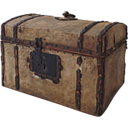 Leather Small Domed Traveling Trunk 19th Century