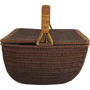 Vintage Double Sided Large Market Picnic Gathering Basket
