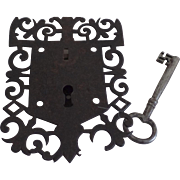 Large European Iron Lock Escutcheon Key 18th Century