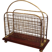 English Walnut and Brass Wire Magazine Stand Rack c1900