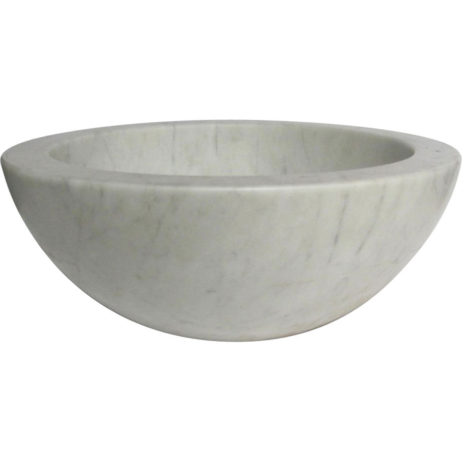 Carrara Marble Sink : Vintage Carrara Marble Round Vessel Sink from rubylane-sold on Ruby ...