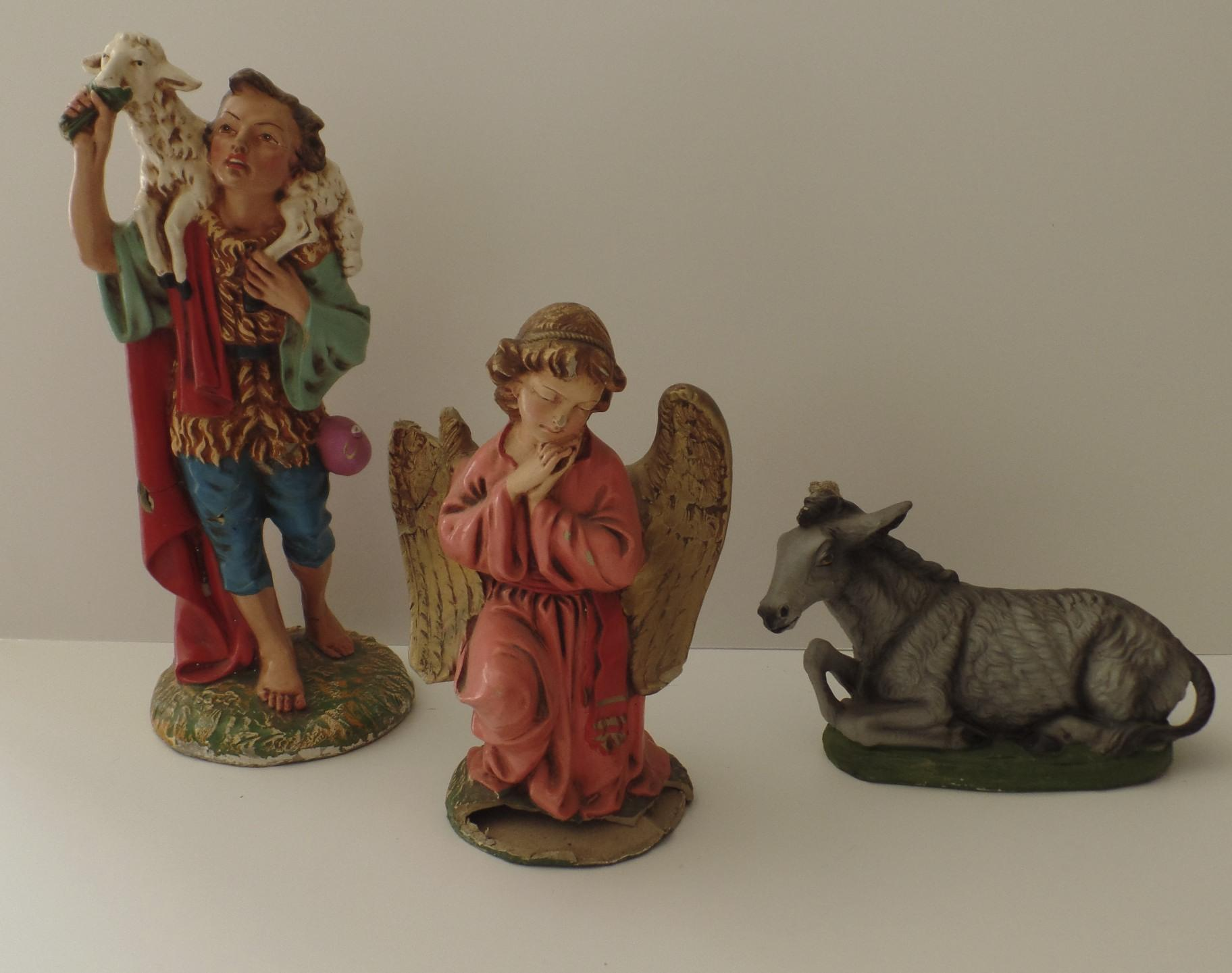 vintage large papier mache nativity creche italy italian 10 pieces sold on ruby lane. Black Bedroom Furniture Sets. Home Design Ideas