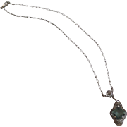 Vintage Aquamarine Colored Glass Filagree Necklace Delicate