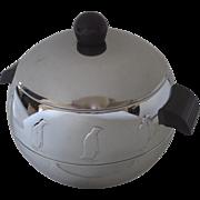 West Bend Chrome Penguin Ice Bucket Hot Cold Server Bakelite Handles