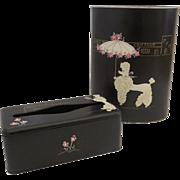 Ransburg Poodle Wastebasket and Tissue Holder Rhinestones