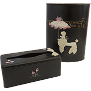 Ransburg Poodle Wastebasket and Tissue Holder Rhinestones