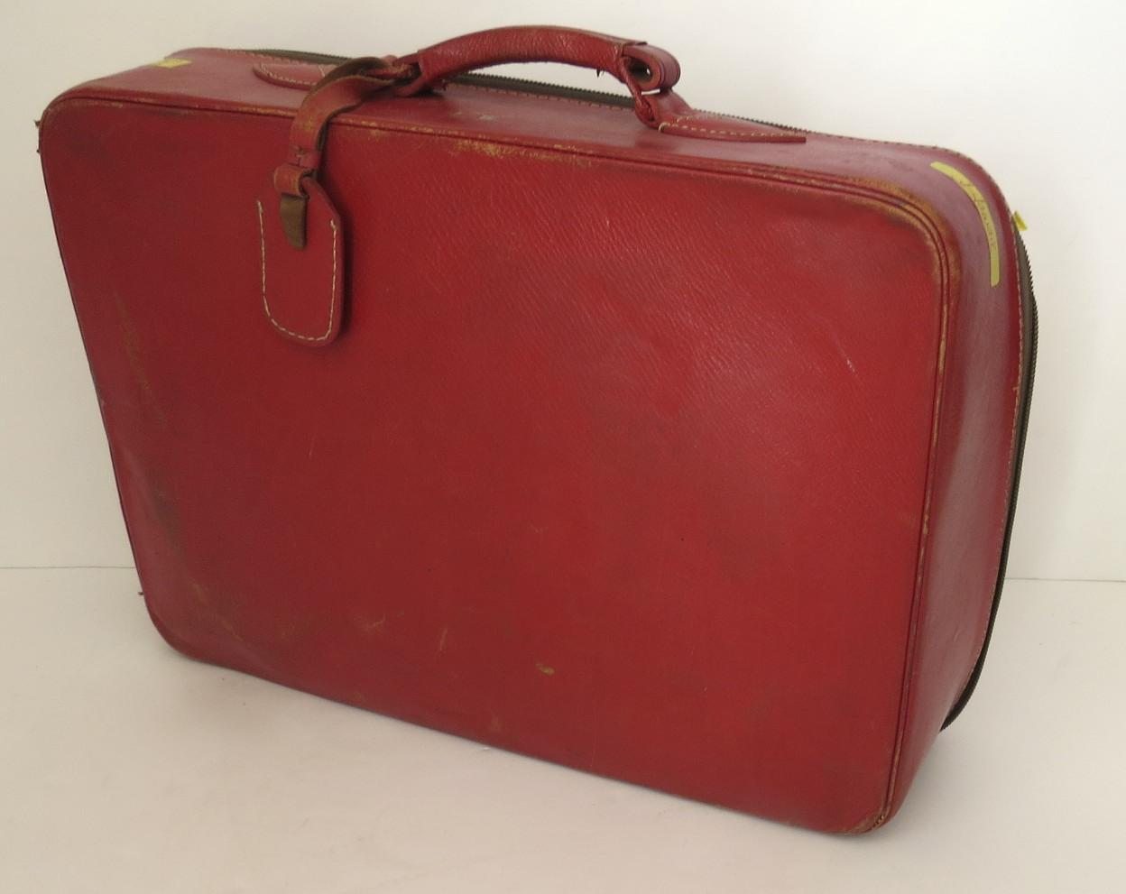 Vintage 1960's All Red Leather Suitcase Luggage from blacktulip on ...