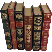 Six (6) Vintage Leather Gilt Tooled Books Franklin Library Chekhov Cervantes Chaucer