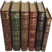 Six (6) Vintage Leather Gilt Tooled Books Franklin Library Cooper, Catton, Dana, Galsworthy, Hawthorne, Crane