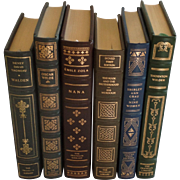 Six (6) Vintage Leather Gilt Tooled Books Franklin Library Walden, Wilde, Sola, Murdoch, Grau, Wilder