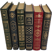 Six (6) Vintage Leather Gilt Tooled Books Franklin Library '80's '90's Conrad, Defoe, Alighieri, Collins
