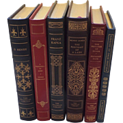Six (6) Vintage Leather Gilt Tooled Books Franklin Library '80's '90's O'Henry Hemingway Kafka James Hope Khayyyam