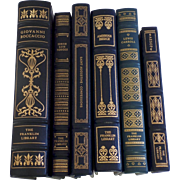 Six (6) Vintage Leather Gilt Tooled Books Franklin Library