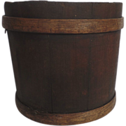 Banded Wooden Sap Syrup Bucket Trash Can Waste Basket Bin