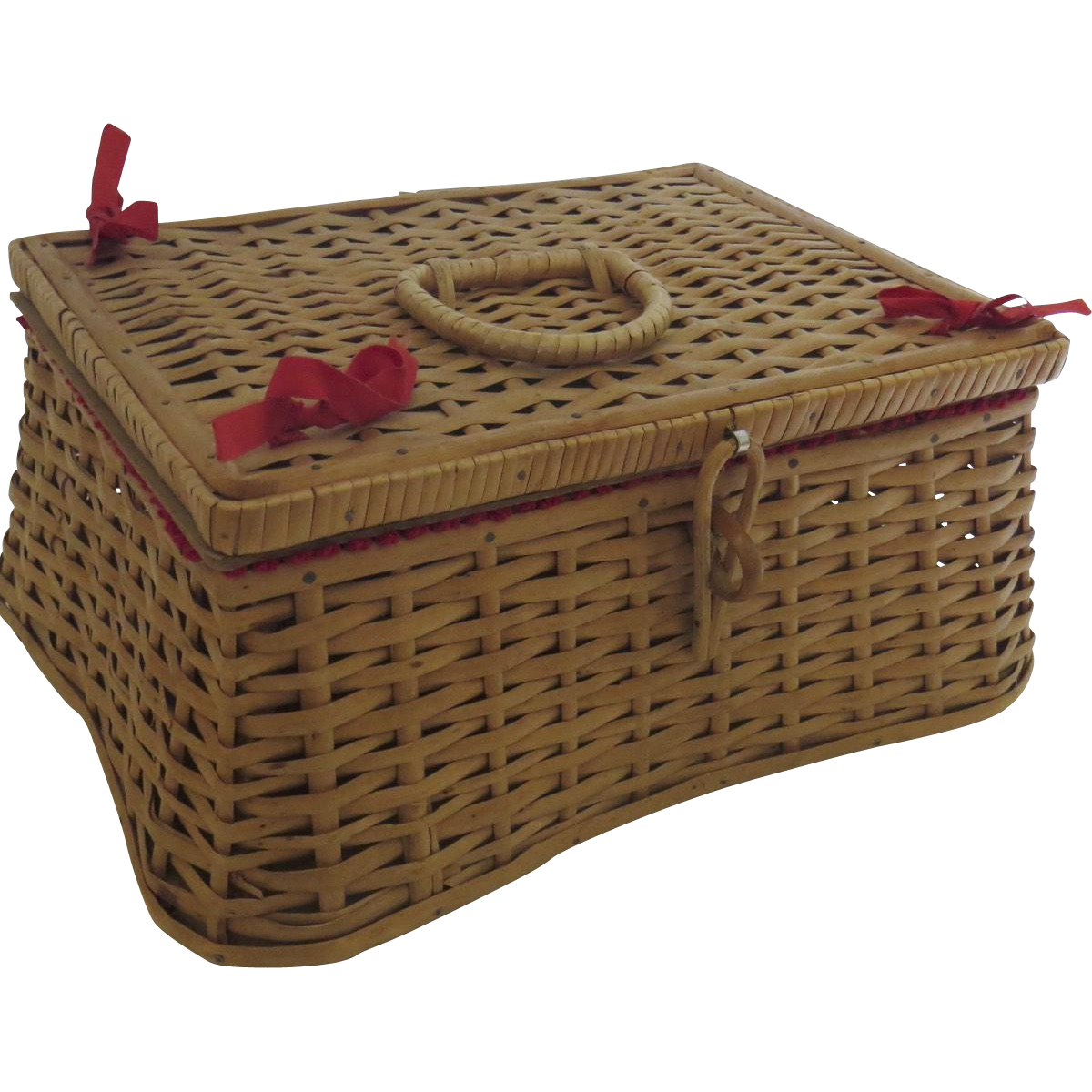 Vintage 1960 S Wicker Sewing Basket Box Lid Made In West