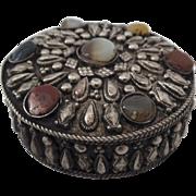 Vintage Round Jewelry Trinket Box with Bezel Set Stone