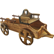 Vintage Handmade Wooden Child's Toy Wagon Pull by Alan Lees, Seal Beach, California