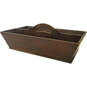 English Oak Two Sections Cutlery Tray Box Carrier 19th Century