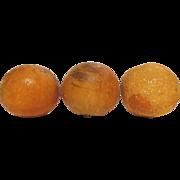 Vintage Italian Carved Marble Alabaster Stone Fruit Orange and 2 Pomegranate