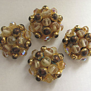 Set of 4 Vintage Large Beaded Buttons