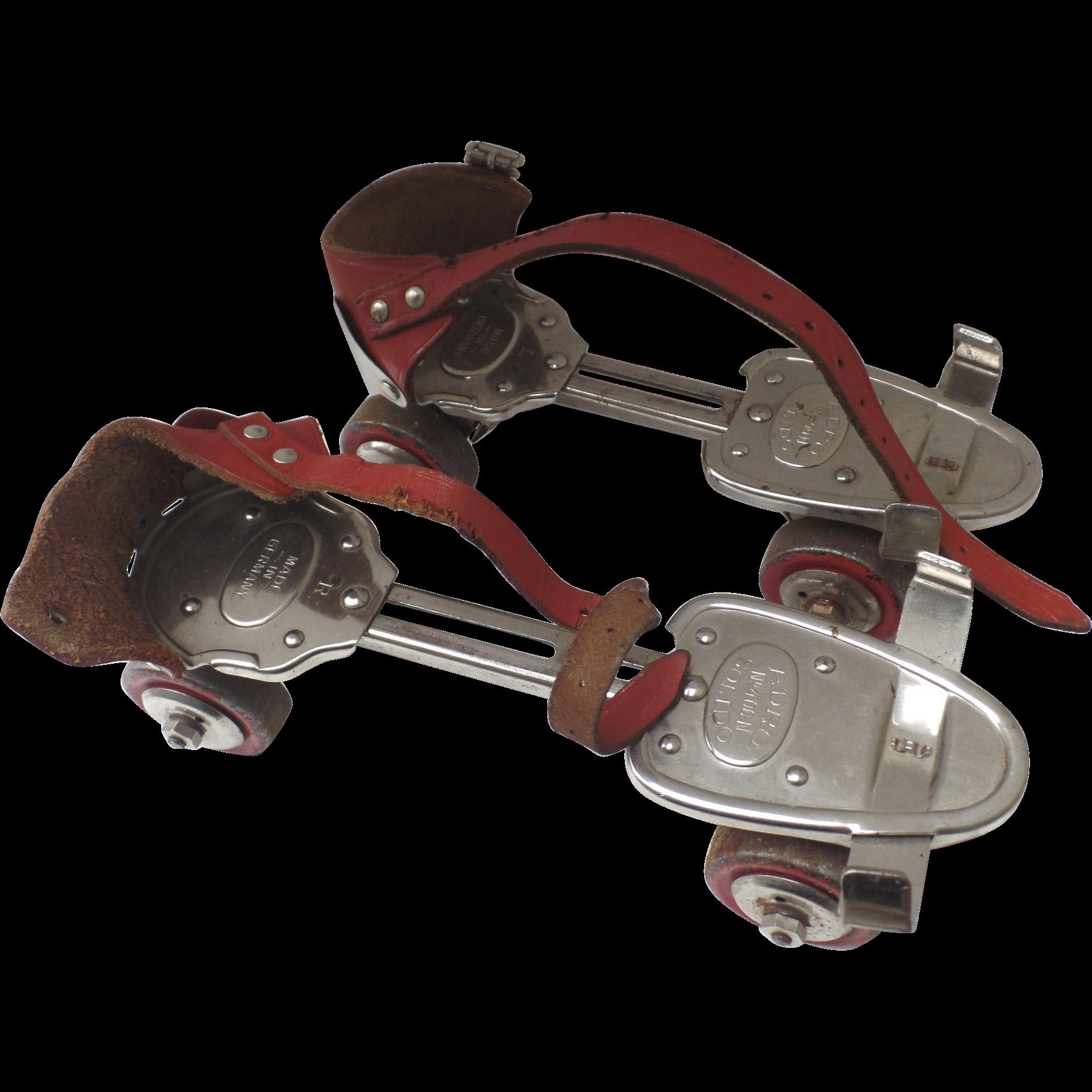 Roller skates vintage - Vintage Adro Solido Made In Germany Roller Skates Red Leather Straps