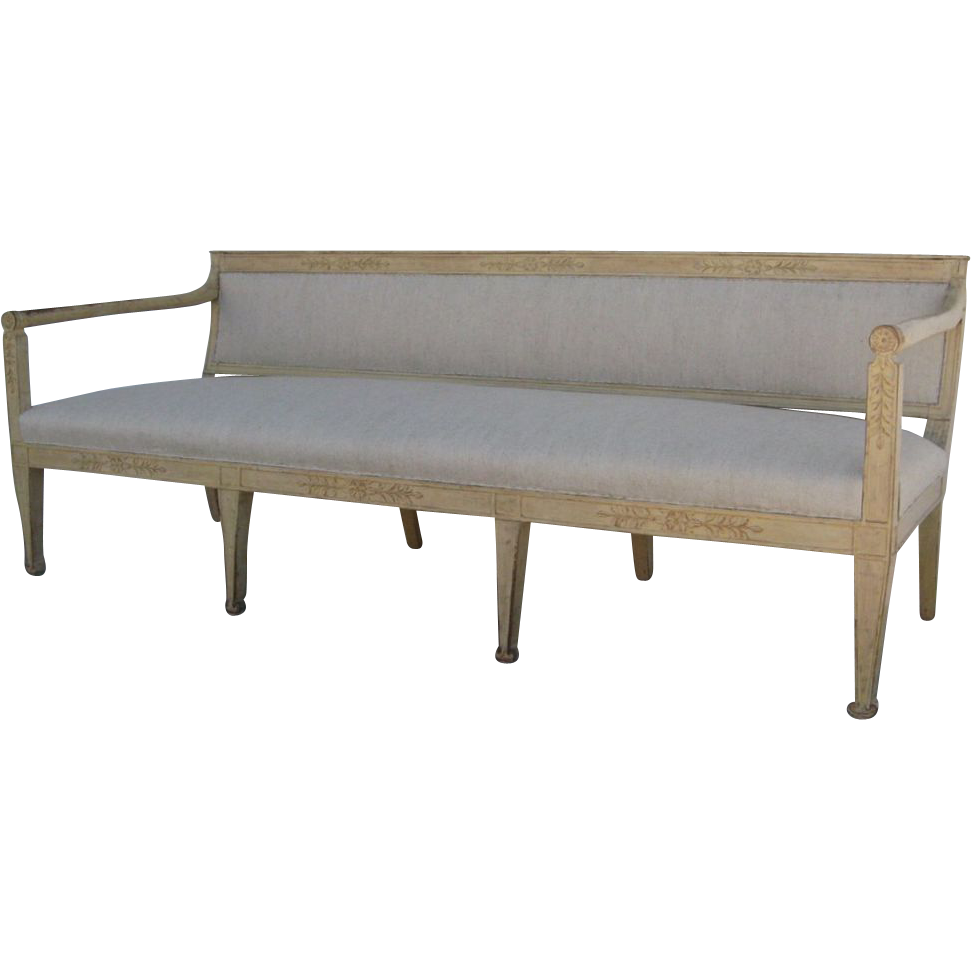 Painted Swedish Banquette Settee Gustavian