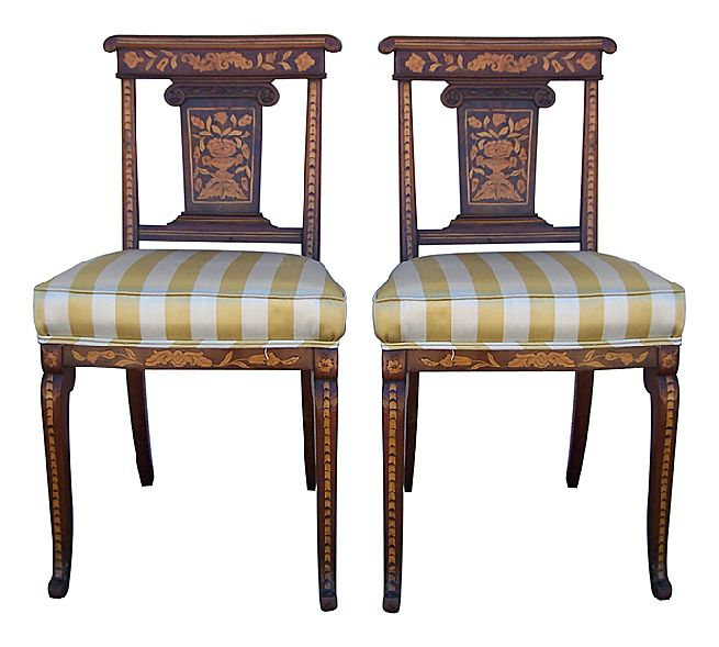 Pair Of Marquetry Side Chairs