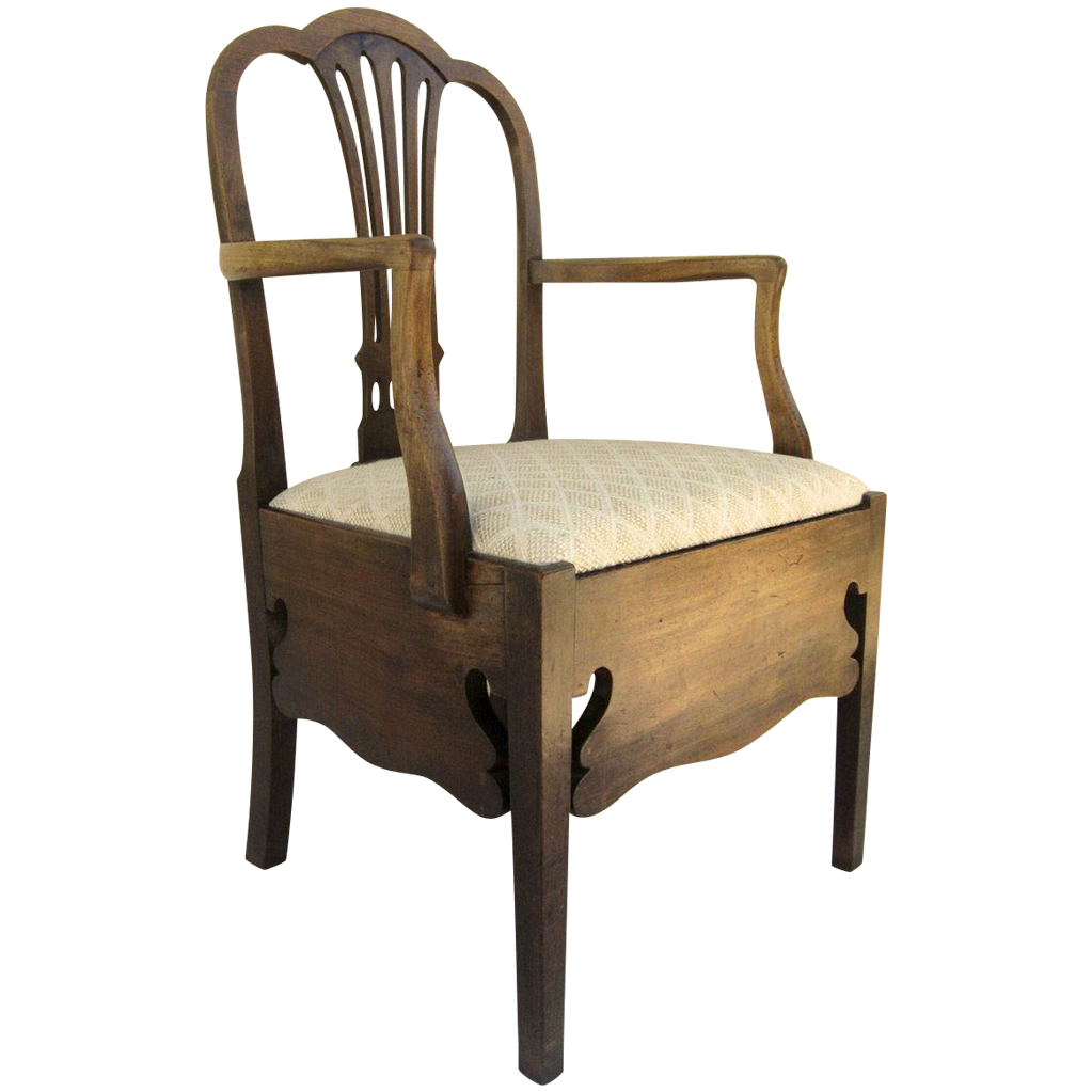English Mahogany Hepplewhite Commode Chair